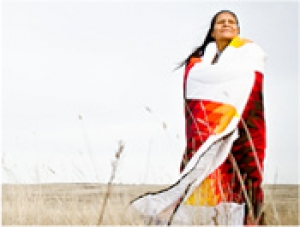 Germaine Moves Camp in Lakota Star Blanket